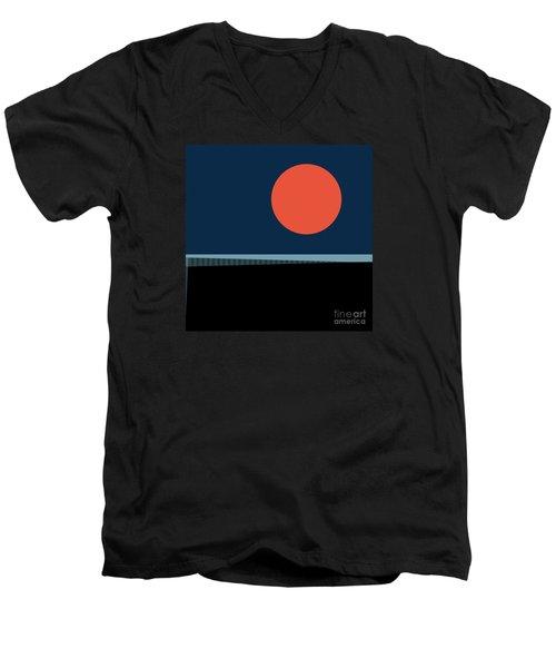 Men's V-Neck T-Shirt featuring the digital art Supermoon Over The Sea by Klara Acel