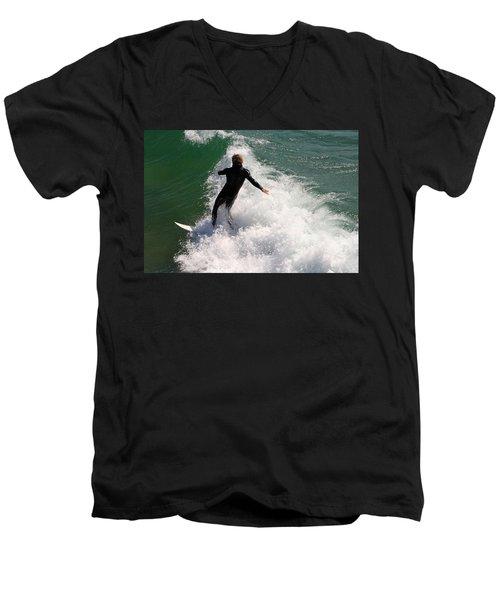 Surfer Catching A Wave Men's V-Neck T-Shirt