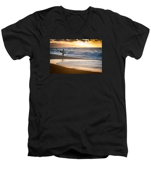 Surfer On Beach Men's V-Neck T-Shirt