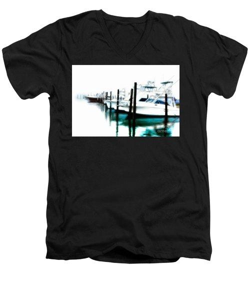 Surreal Fishing Boats In Outer Banks Marina Ap Men's V-Neck T-Shirt by Dan Carmichael
