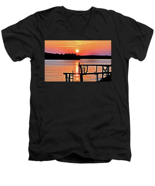 Surreal Smith Mountain Lake Dock Sunset Men's V-Neck T-Shirt by The American Shutterbug Society