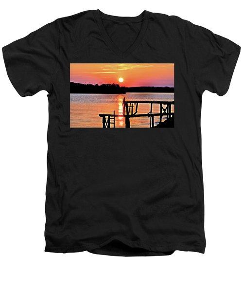 Surreal Smith Mountain Lake Dock Sunset Men's V-Neck T-Shirt