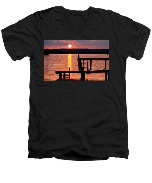 Surreal Smith Mountain Lake Dockside Sunset 2 Men's V-Neck T-Shirt by The American Shutterbug Society