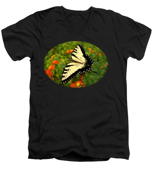Swallowtail Among Lantana Men's V-Neck T-Shirt by Sue Melvin