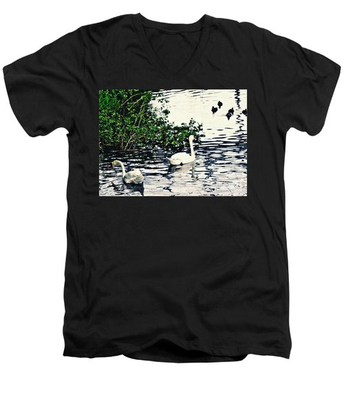 Men's V-Neck T-Shirt featuring the photograph Swan Family On The Rhine 2 by Sarah Loft