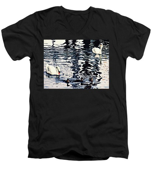 Men's V-Neck T-Shirt featuring the photograph Swan Family On The Rhine by Sarah Loft