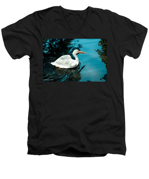 Men's V-Neck T-Shirt featuring the photograph Swan Lake by Debbie Karnes