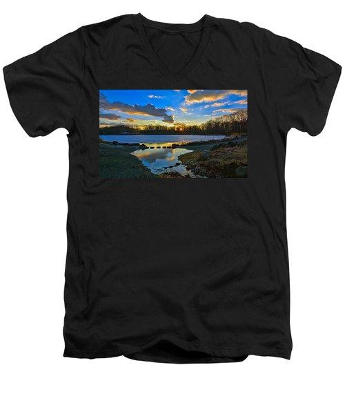 Swan Lake Sunset Men's V-Neck T-Shirt