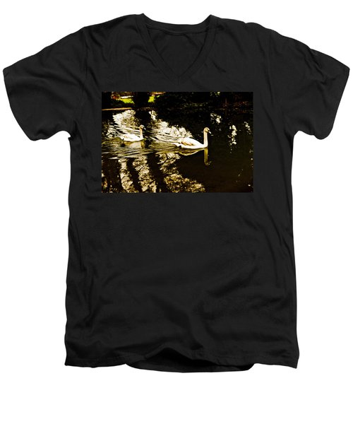 Swans On River Wey Men's V-Neck T-Shirt by Patrick Kain