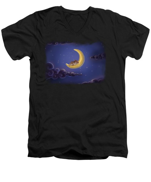 Men's V-Neck T-Shirt featuring the drawing Sweet Dreams by Julia Art