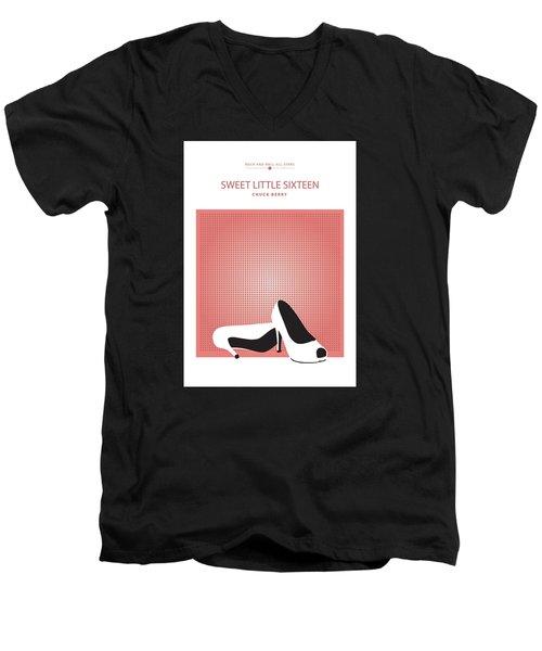 Men's V-Neck T-Shirt featuring the drawing Sweet Little Sixteen -- Chuck Berry by David Davies