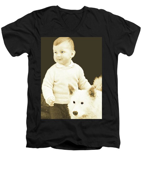 Men's V-Neck T-Shirt featuring the painting Sweet Vintage Toddler With His White Mutt by Marian Cates