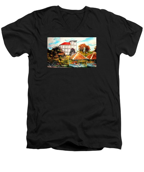 Men's V-Neck T-Shirt featuring the painting Swifts  Nest's Building by Jason Sentuf