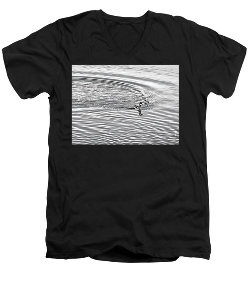 Men's V-Neck T-Shirt featuring the photograph Swimming From Circles by Joe Bonita