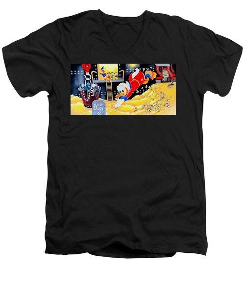 Swimming In Gold Men's V-Neck T-Shirt