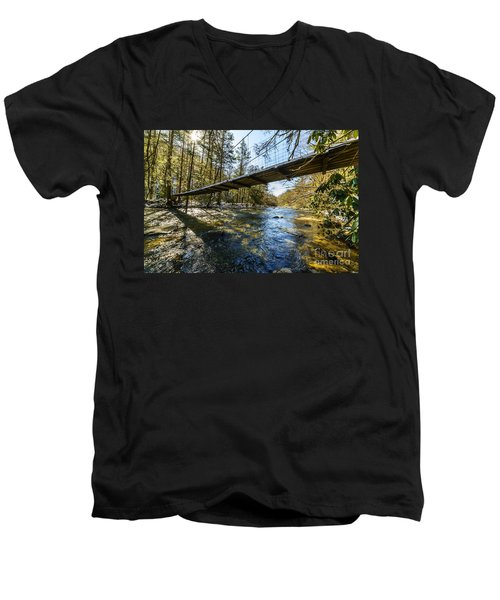 Swinging Bridge Back Fork Of Elk Men's V-Neck T-Shirt