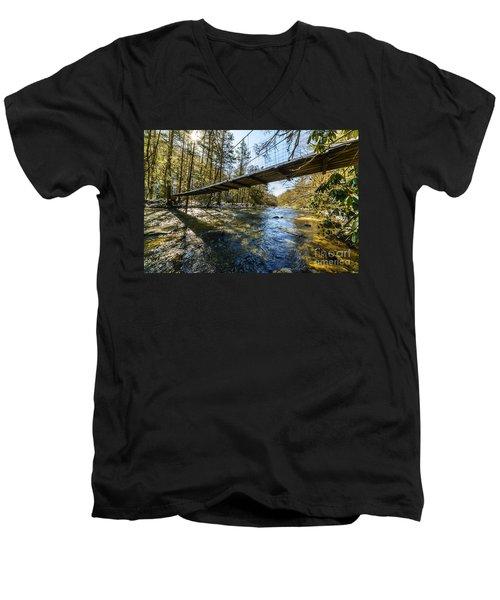 Swinging Bridge Back Fork Of Elk Men's V-Neck T-Shirt