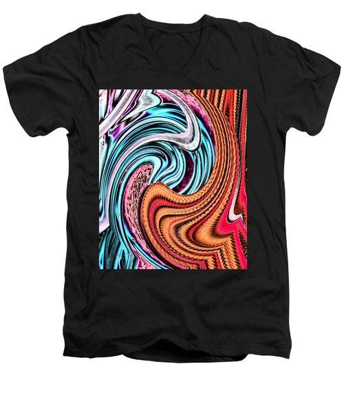 Swirly Abstract 7179a Men's V-Neck T-Shirt