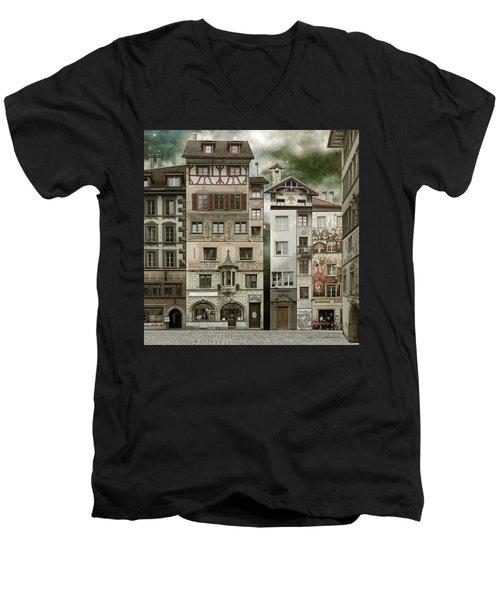 Swiss Reconstruction Men's V-Neck T-Shirt by Joan Ladendorf