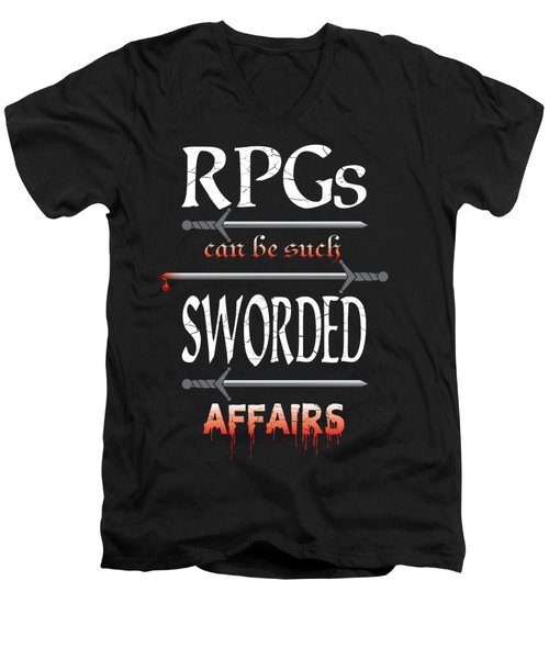 Sworded Affairs Men's V-Neck T-Shirt by Jon Munson II