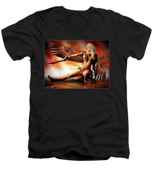 Swords Of The Hawk Woman Men's V-Neck T-Shirt