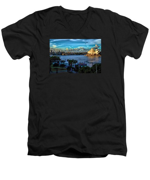 Sydney Harbor And Opera House Men's V-Neck T-Shirt by Diana Mary Sharpton