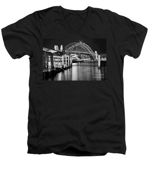 Sydney Harbour Bridge Black And White By Kaye Menner Men's V-Neck T-Shirt by Kaye Menner
