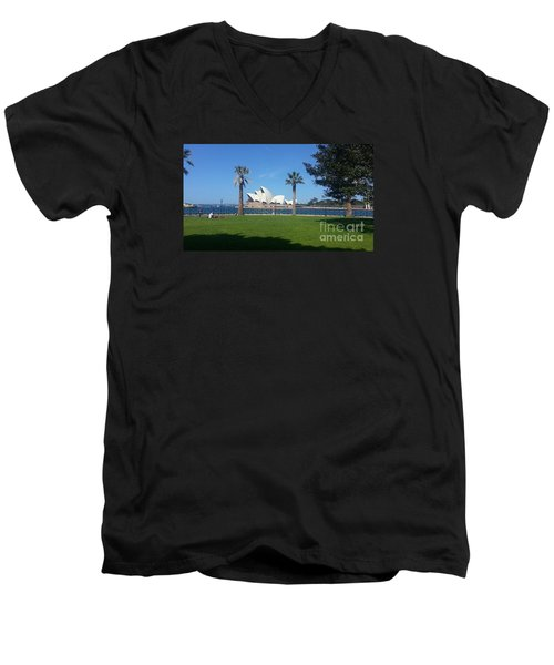 Men's V-Neck T-Shirt featuring the photograph Sydney Opera House  by Bev Conover