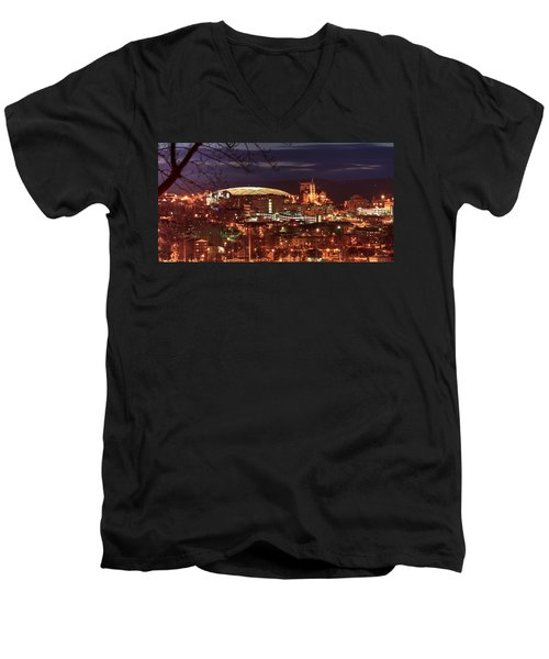 Syracuse Dome At Night Men's V-Neck T-Shirt