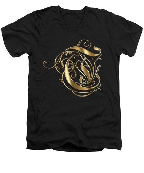 T Golden Ornamental Letter Typography Men's V-Neck T-Shirt