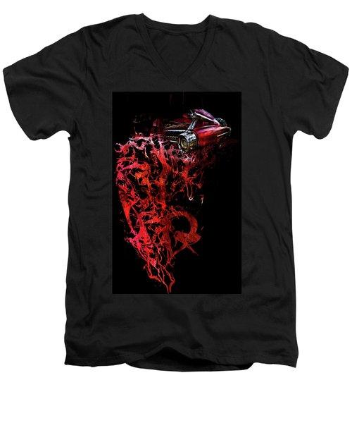 T Shirt Deconstruct Red Cadillac Men's V-Neck T-Shirt