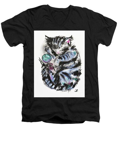 Tabby Dreams Men's V-Neck T-Shirt by Zaira Dzhaubaeva