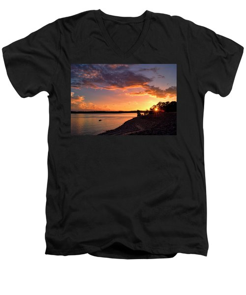 Men's V-Neck T-Shirt featuring the photograph Table Rock Sunset by Cricket Hackmann