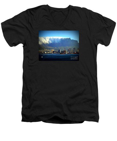 Table Rock With Cloud Men's V-Neck T-Shirt by John Potts