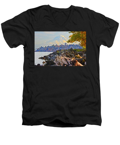 Tacoma In The Fall Men's V-Neck T-Shirt
