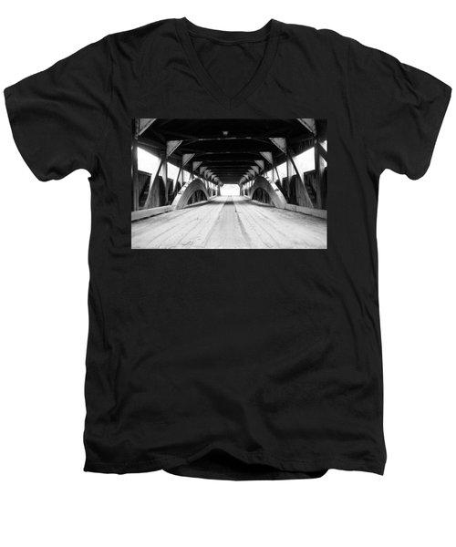 Taftsville Covered Bridge Men's V-Neck T-Shirt by Greg Fortier