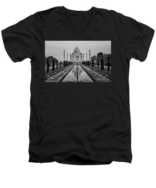 Taj Mahal In Black And White Men's V-Neck T-Shirt by Jacqi Elmslie