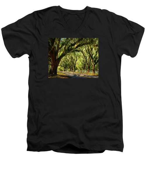Tallahassee Canopy Road Men's V-Neck T-Shirt by Carla Parris