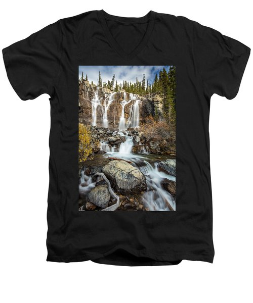 Men's V-Neck T-Shirt featuring the photograph Tangle Waterfall On The Icefield Parkway by Pierre Leclerc Photography