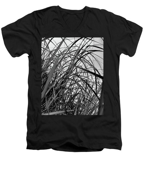 Men's V-Neck T-Shirt featuring the photograph Tangled Grass by Susan Capuano