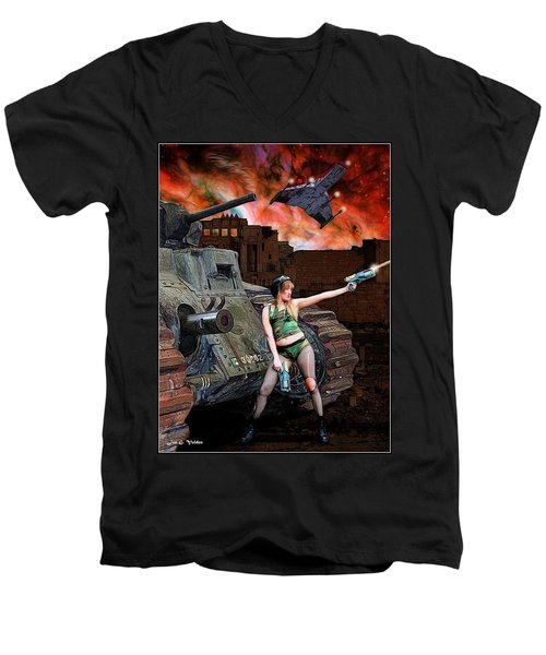 Tank Girl In Action Men's V-Neck T-Shirt