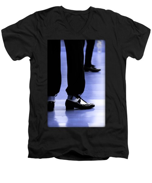 Tap Dance In Blue Are Shoes Tapping In A Dance Academy Men's V-Neck T-Shirt by Pedro Cardona