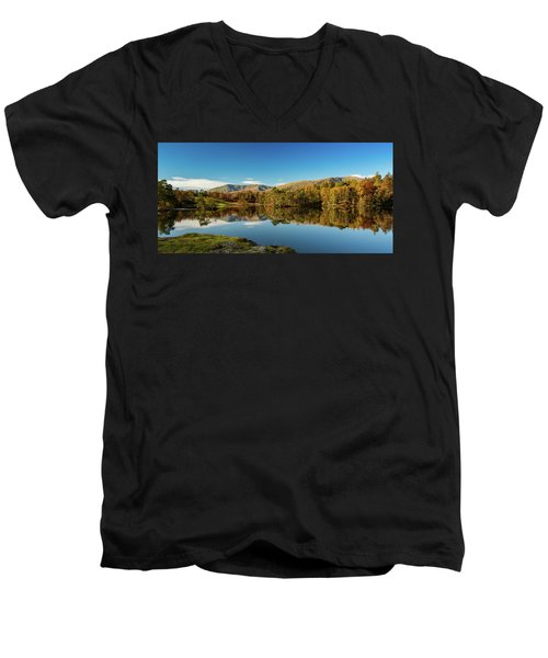 Tarn Hows Men's V-Neck T-Shirt by Mike Taylor