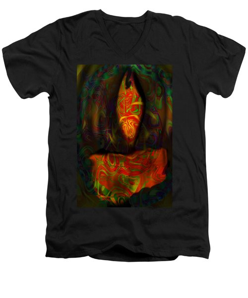 Tarot Candle Men's V-Neck T-Shirt by Kevin Caudill