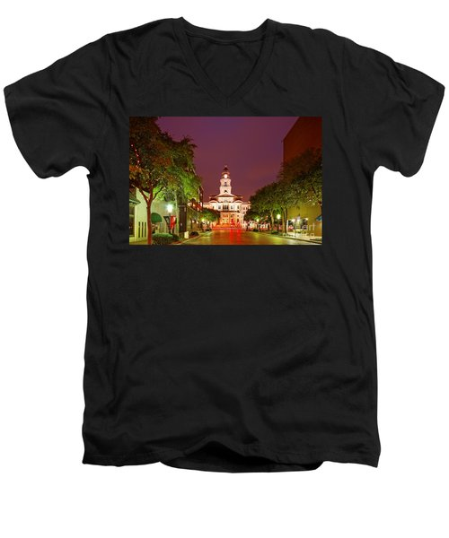 Tarrant County Courthouse At Twilight - Fort Worth North Texas Men's V-Neck T-Shirt