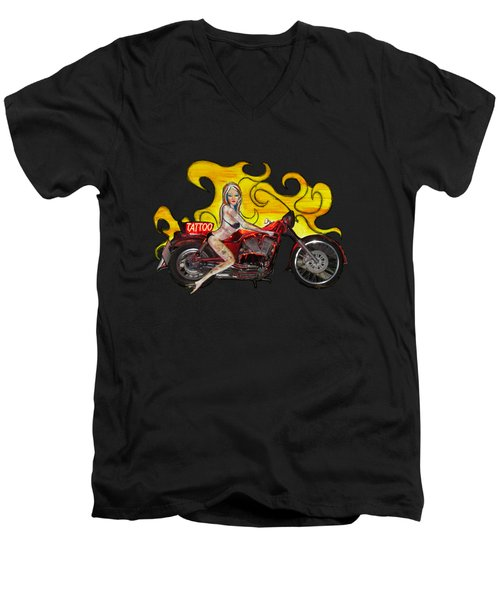 Tattoo Pinup Girl On Her Motorcycle Men's V-Neck T-Shirt by Tom Conway