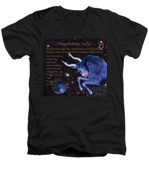Taurus Birthday Zodiac Astrology Men's V-Neck T-Shirt
