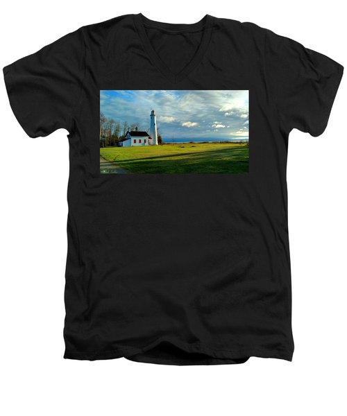 Sturgeon Point Lighthouse Men's V-Neck T-Shirt
