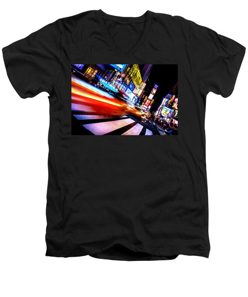Taxis In Times Square Men's V-Neck T-Shirt
