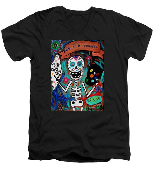 Te Amo Painter Dia De Los Muertos Men's V-Neck T-Shirt by Pristine Cartera Turkus